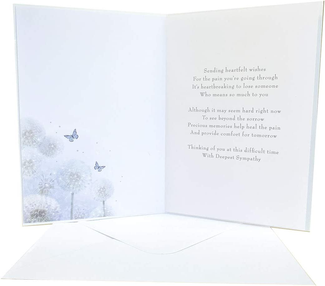 Sympathy Card Thinking of You Difficult Time Verse Words Poem Luxury Sentimental Dandelion Gold Foil Glitter Family Friends Envelope Seal