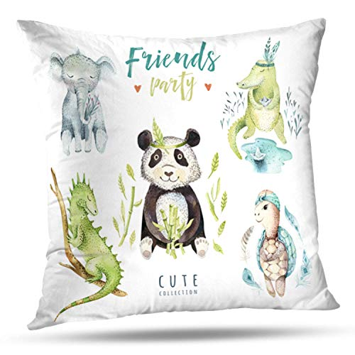 LALILO Throw Pillow CoversBaby Animals Nursery Watercolor Boho Tropical Child Double-Sided Pattern for Sofa Cushion Cover Couch Decoration Home Bed Pillowcase 18x18 inch