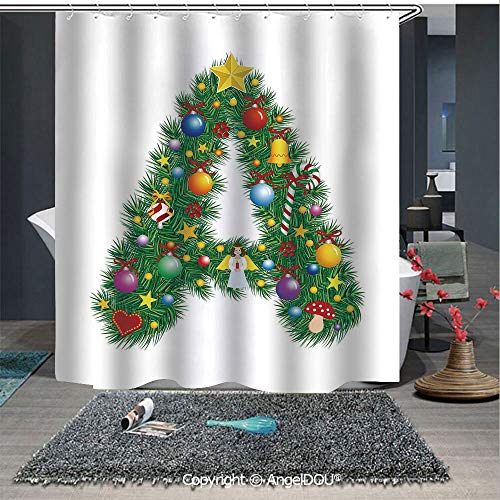 AngelDOU Letter A Lightweight Durable Fabric Shower Curtain Tree Star from Winter Celebrations Praying Angel Mini Stars Letter A Font Concep for Bathroom with Free ()