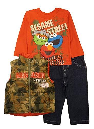 Sesame Street Boys' Elmo 3 Piece Nylon Vest Set, Orange, 2T -