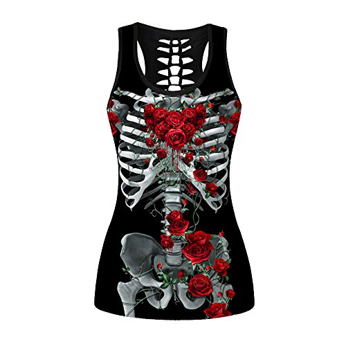 (Ensasa Women's Tank Top Tees, Skull Flower Printed Back Hollow Out Stretchy Camisole Halter Top Sleeveless T-Shirt Plus Size, Skeleton Skull,)