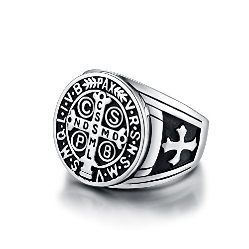 Men's St Benedict Ring Stainless Steel Heavy Christian Roman Mens Catholic Saint Benedict Exorcism Rings Gift Demon Protection Ghost Hunter CSPB for Men Boys Dad Boyfriend Vintage Antique Size 13