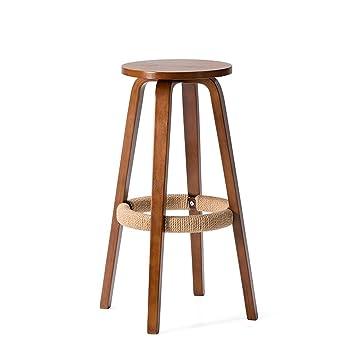 Amazoncom Zhen Guo Modern Wooden Round Bar Stool With Hemp Rope