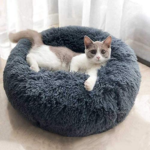 Buddy Poppy Original Round Calming Bed for Dog, Vegan Donut Cat and Dog Cushion Bed, Orthopedic Relief, Self-Warming and Cozy for Improved Sleep