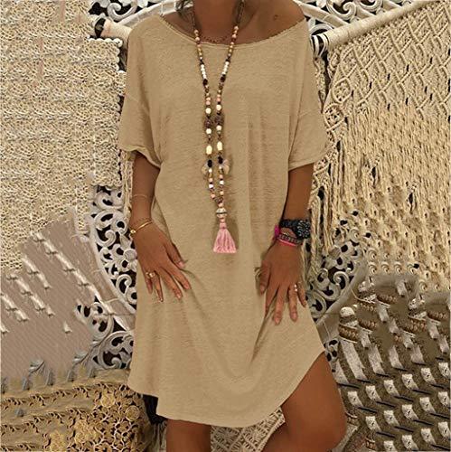 Mare Donna Brasiliana Sleeve Beach Tunica Dress Scollo Eleganti Women Summer A Forti Mini Size Loose Beige Vestito Short Barca Taglie Manica Corta Dragon868 Spiaggia Plus 5xl Estate PkXwNnO80