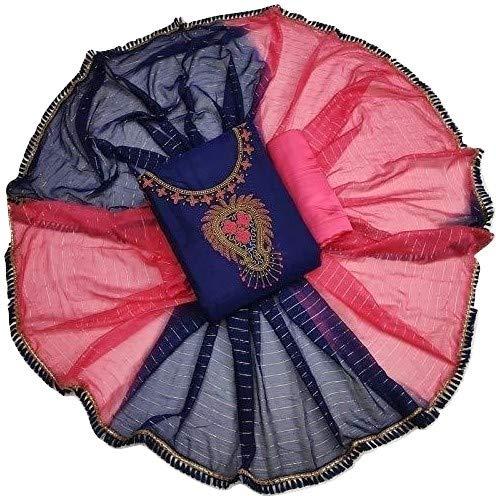 Meeramar fashion Cotton Unstitched Salwar Suit Dress Material With Designer Dupatta For Girls