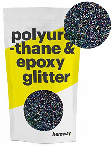 Hemway Metallic Glitter Floor Crystals for Epoxy Resin Flooring (500g) Domestic, Commercial, Industrial - Garage, Basement - Can be used with Internal & External (Black - Black Wall Outdoor 1l