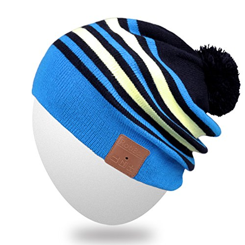 Rotibox Unisex Bluetooth Slouchy Striped Pom Pom Beanie Hat Cap with Wireless Headphone Headset Earphone Speaker Mic Hands