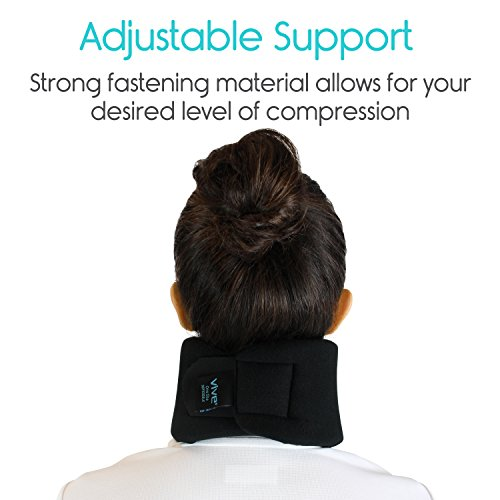 Vive Neck Brace - Cervical Collar - Adjustable Soft Support Collar Can Be Used During Sleep - Wraps Aligns and Stabilizes Vertebrae - Relieves Pain and Pressure in Spine (Black) by VIVE (Image #6)