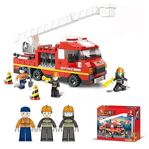 Lightahead Firemen Building Blocks with Fire Truck & Fire fighters, FireEngine Toy Building Blocks Set Educational DIY for your Kids (270 (Toy Firemen)