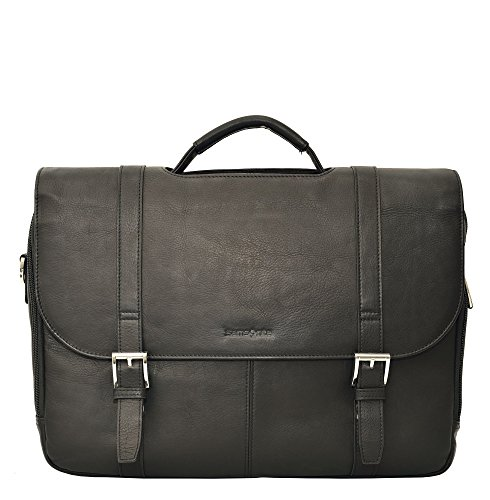 Samsonite Colombian Leather Flapover Case (One Size, Black/Chrome)