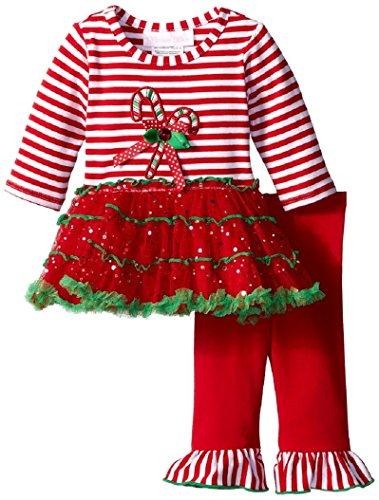 Bonnie Baby Baby-Girls Candy Cane Tutu Skirt Legging Set, Red, 3T