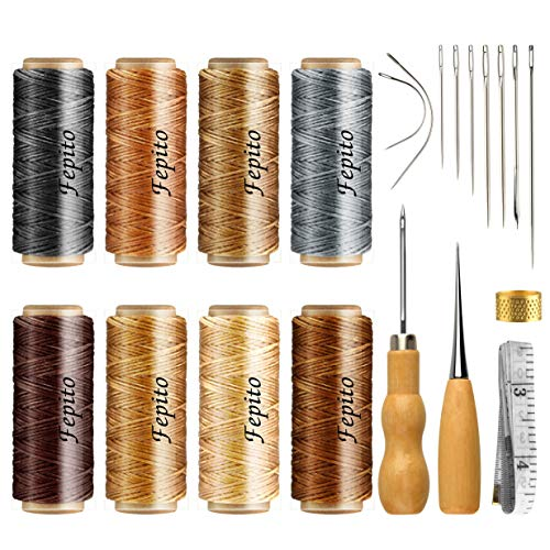 FEPITO 21pcs Leather Waxed Thread 8 Color 264 Yards 150D Leather Sewing Waxed Thread Cord with Leather Craft Hand Tools Kit for DIY Sewing Craft ()