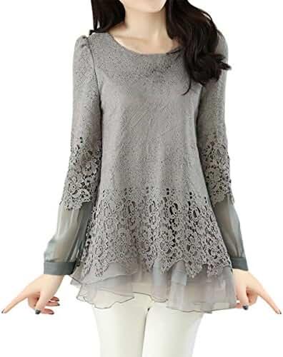 E.JAN1ST Women's Lace Shirts Chiffon Splice Fit and Flare Long Sleeve Tunic Top