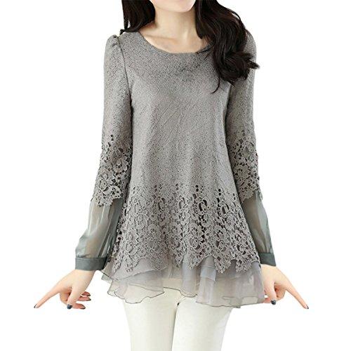 E.JAN1ST Women's Lace Shirts Chiffon Splice Fit and Flare Long Sleeve Tunic (Layered Chiffon)