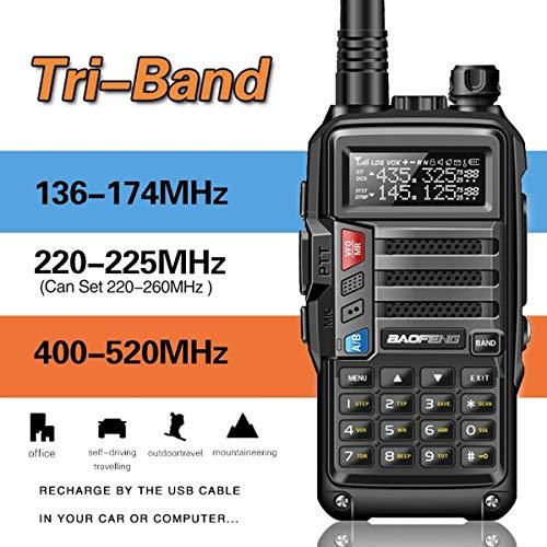 (BaoFeng UV-9S Tri-Band 5W VHF,1.25M,UHF 136-174/220-225/400-520Mhz Extra 220 Antenna Portable Amateur Ham Two Way Radio)