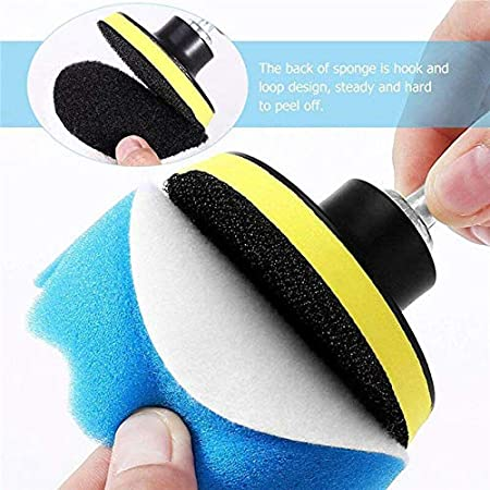 3 Inch Car Polisher Sponge Polishing Buff Pads Set Kit with M10 Drill Adapter Hand Tool Kit for Car Polisher Wax Pack of 19