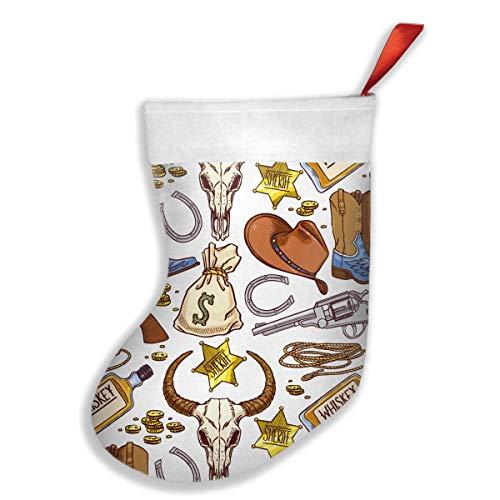 Cute Colorful Seamless Cowboy Accessories Christmas Stockings Gift Bags Santa Snowman Elk Xmas Tree Hanging Ornament