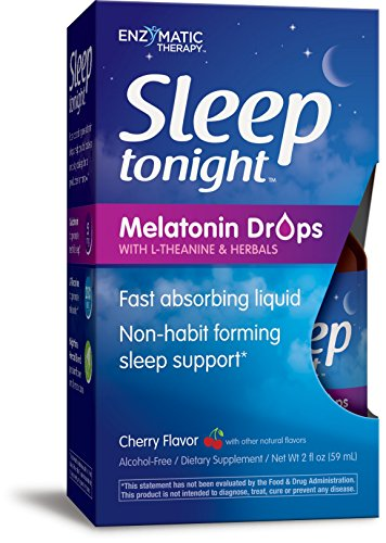 Sleep TonightTM Melatonin Drops L-Theanine (Suntheanine®) Fast Absorbing Non-Habit Forming Non-Alcoholic Cherry 2 Ounces (Melatonin Solution)