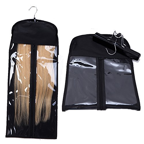 Dust-proof Protection Non-woven Carrier Zipper Suit Case Bag Portable Hair Extensions Hanger Package for Hair Extensions Storage (Black)