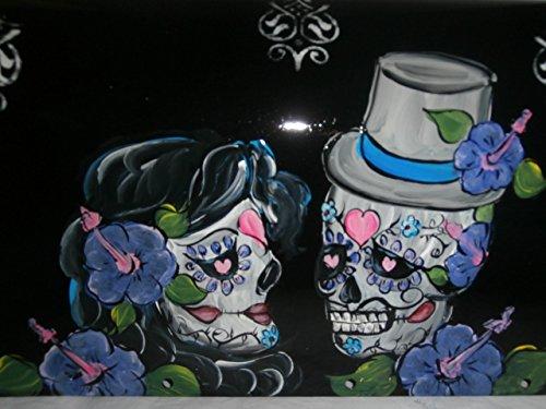 Hand painted standard black metal mailbox in sugar skull design.