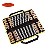 304 Stainless Steel BBQ Skewers Wooden Handle,Flat Design with Portable Storage Bag Suitable for Outdoor Barbecue,20Packs