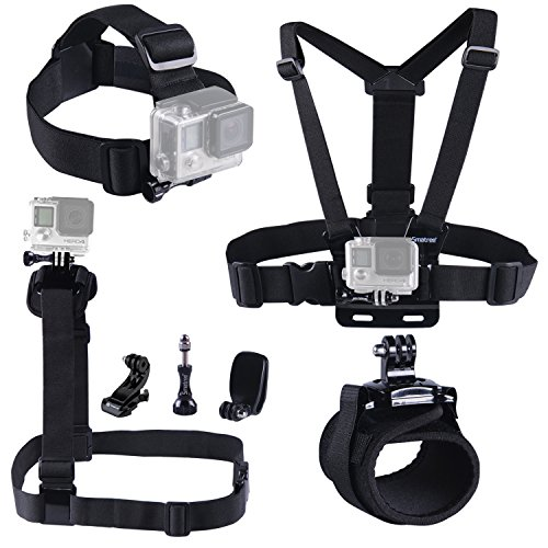 Smatree 7 in 1 Accessories Kit with Wirst/Head/Chest Strap Mount for GoPro Hero 5/4/3+/3/2/1 by Smatree
