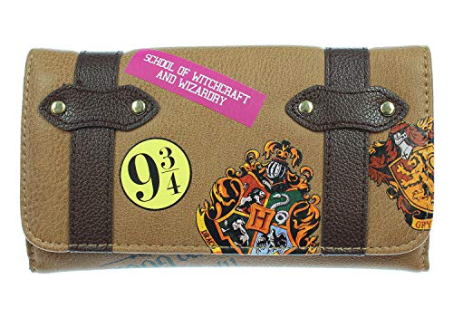 Harry Potter Hogwarts School Trunk Inspired Snap Closure Trifold Wallet