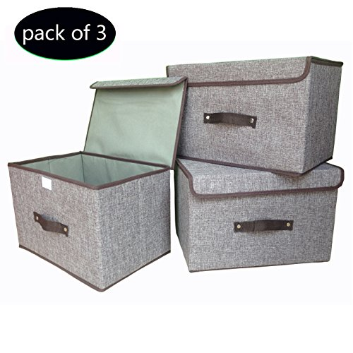 Storage Bins (3-Pack) Foldable Storage Box with Lids and Handles Storage Basket Storage Containers Organizer With Built-in Cotton Fabric Closet Drawer Removable Dividers (Light Gray) (Small Storage Baskets With Lids)