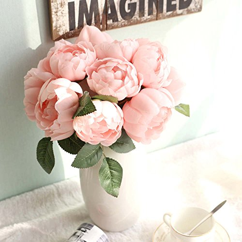 Artificial Flowers,Peony Silk Bouquet Home Bridal Wedding Party European Style Floral Bouquet Decoration Pink (pink)