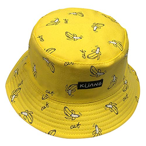 (lightclub Women Banana Chips Double Side Folding Fisherman Sun Hat Outdoor Bucket Cap for Women Men Yellow)