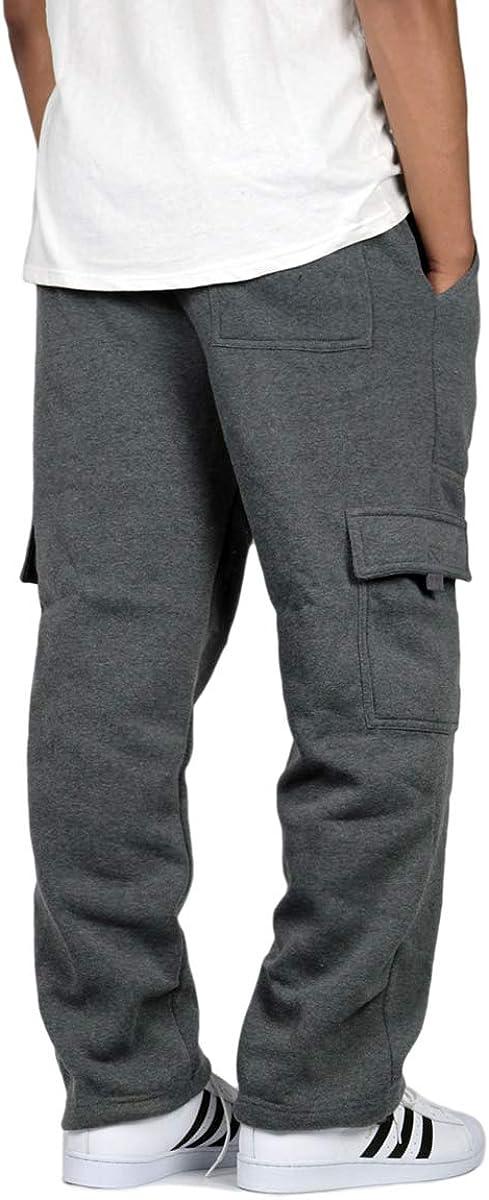 URBANJ Mens Fleece Cargo Sweatpants Heavyweight S-3XL