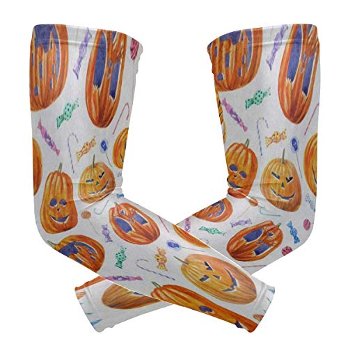 Arm Sleeve Halloween Pumpkin Lollipop Candy Sports Compression/UV Protection/Dry-Fast Breathable/Warmth for Men Women Cycling/Golf/Basketball 1 Pair