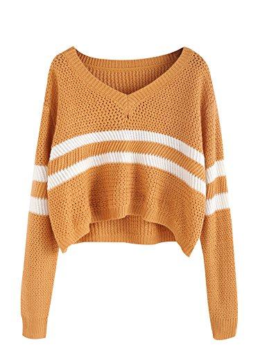 Floerns Womens Sleeve Striped Sweater
