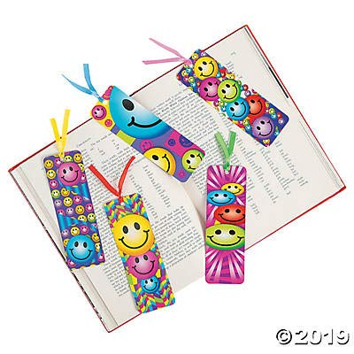 4 Dozen (48) Smiley Face Laminated BOOKMARKS - Smile EMOJI Emoticon PARTY Favors CLASSROOM Rewards Incentives TEACHER