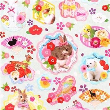 Pegatinas japonesas de animales kawaii con lazos y flores