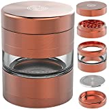 9TO5 GRINDERS Large 2.5 Inch 5 Piece Herb Grinder with Best Pollen Catcher & Jar – Includes REMOVABLE Stainless Steel Screen/Pollen Scraper/Travel Bag (Copper/Rose Gold)