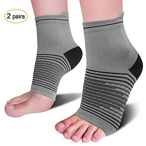 Heel Medicine - Plantar Fasciitis Socks(2 Pairs) for Heel Pain Relief, Best Compression Foot Sleeves with Arch Support for Plantar Fasciitis, Heel Pain, Foot & Ankle Support, Light Grey XL