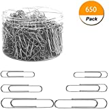 Youyuan Paper Clips, 650 Pieces Assorted Sizes Silver Paperclips, Small, Medium and Jumbo (28mm, 33mm, 50 mm), for Office School Clips and Personal Document Organizing
