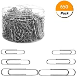 Paper Clips, 650 Pieces Assorted Sizes Silver Paperclips, Small, Medium and Jumbo (28mm, 33mm, 50 mm), for Office School Clips and Personal Document Organizing