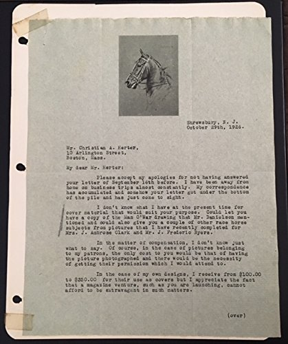 Equestrian Artist George Ford Morris (1873-1960) Signed Letters Horses