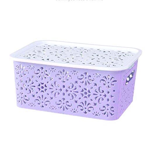 Zehui Kitchen Organizer Clothes Toys Storage Container Creative Plastic Desktop Hollow Storage Basket Underwear Storage Box Small Purple