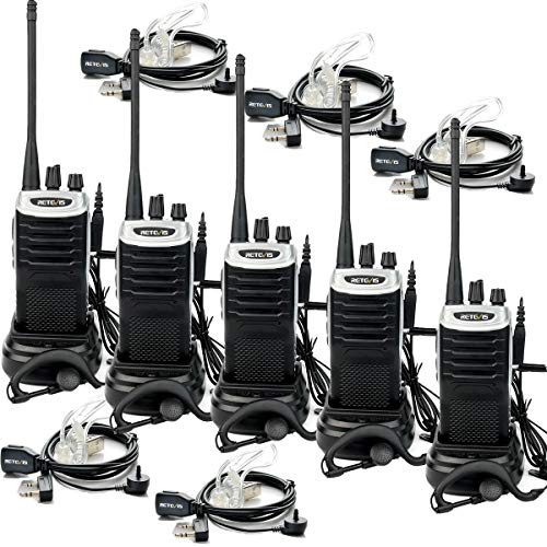 - Retevis RT7 Two Way Radios USB Rechargeable Hand Free 2 Way Radios FM UHF Light and Handy Walkie Talkies with Earpiece(5 Pack)