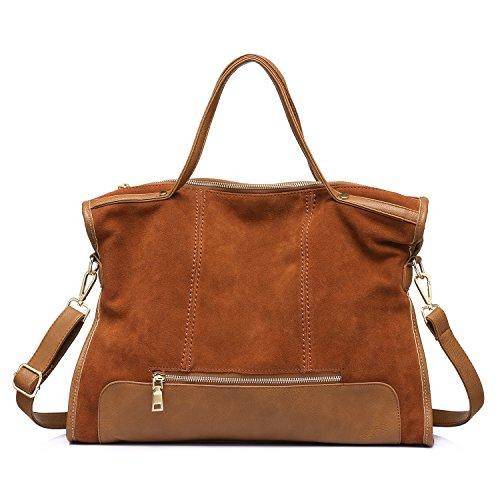 Handbags Tote Bag Nubuck Genuine Leather Purse Girls Business Shoulder Bag Light (Light Brown Nubuck Leather)