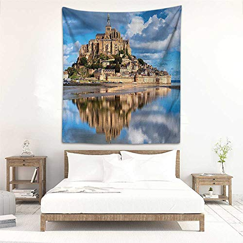 (Godves Wall Tapestry for Bedroom Medieval Decor Collection French Castle on The Sea Fairy Photo of Renaissance Historical Cultural Heritage Tapestry for Home Decor 70