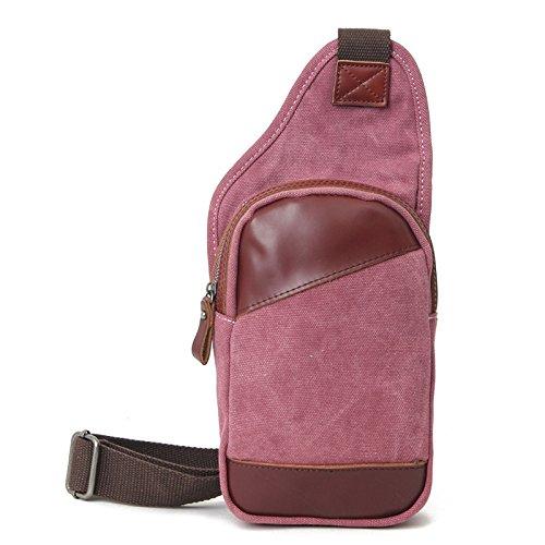 mefly Moda Nuevo capa de piel inclinado de bolso bandolera hombres aleatorio Trend bolsa del pecho, Lake Green Rosa roja