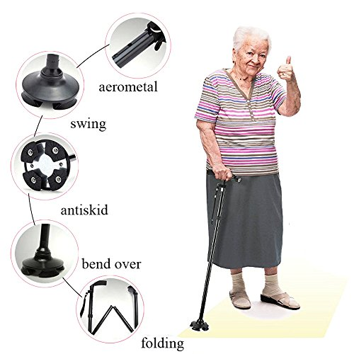 BeGrit Walking Stick Cane Folding Canes LED Light Adjustable Height with Carrying Bag for Men and Women
