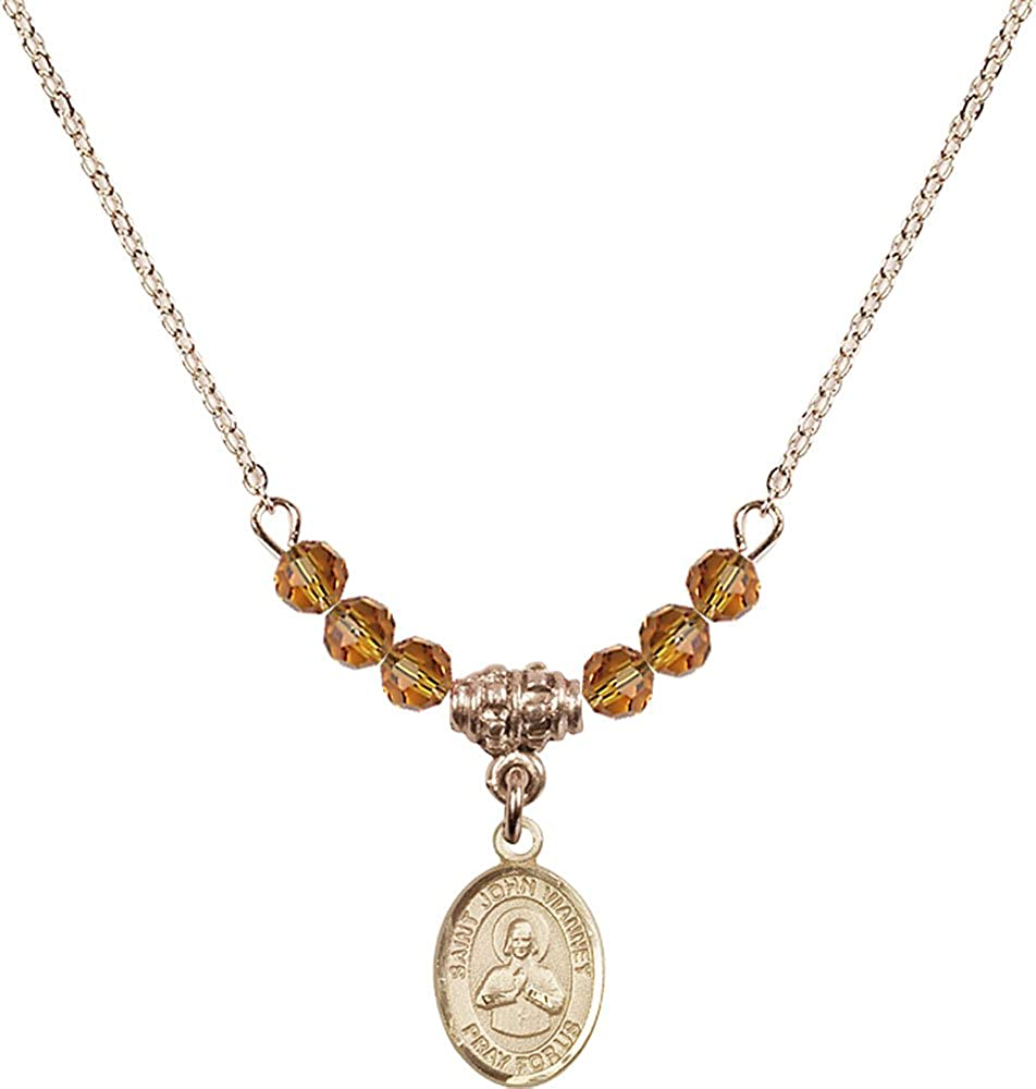 18-Inch Hamilton Gold Plated Necklace with 4mm Topaz Birthstone Beads and Gold Filled Saint John Vianney Charm.