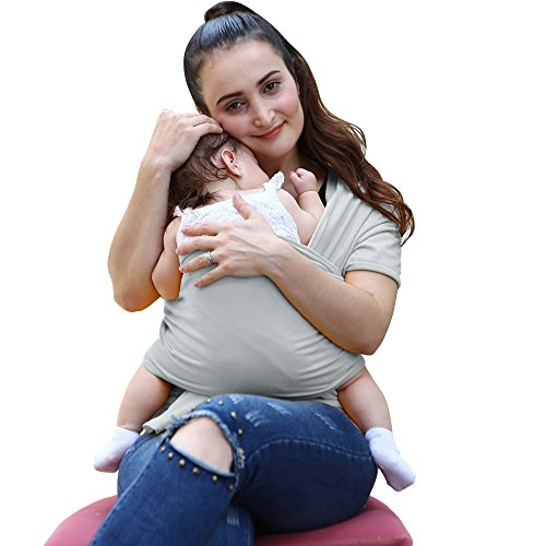 BABY SLING Natural Soft and Lightweight Baby Wrap • Gentle Cotton Baby Carrier Best For Infant & Babies • 1 month up to 2 years of age - (Grey)