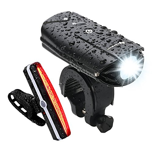 USB Rechargeable Bike Light Set, NearMoon Quick Release Bicycle Lights with Headlight Taillight, Super Bright Front Lamp and Red Rear Light with Emergency Flashlight, Waterproof, Bike Helmet Mount (Waterproof Bike Mount)